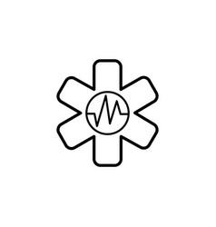 medical ambulance line icon black on white vector image