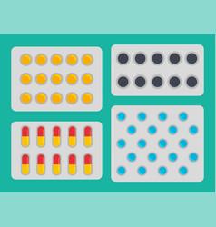 medication blisters pills set vector image