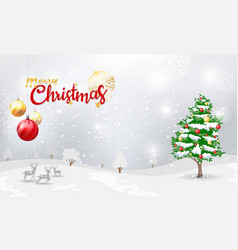 merry christmas typographical and xmas ornaments vector image