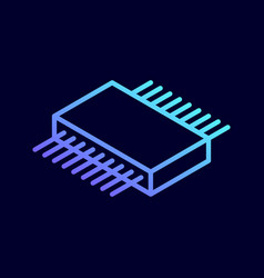 microchip isometric icon central processing unit vector image