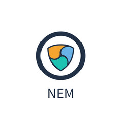 Nem cryptocurrency icon title vector