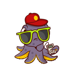 octopus in sunglasses and red cap holding player vector image