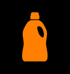 plastic bottle for cleaning orange icon on black vector image