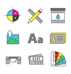 Printing color icons set vector