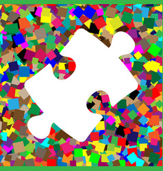 puzzle piece sign white icon on colorful vector image