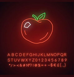 Ripe apple neon light icon glowing sign vector