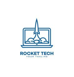 rocket tech logo vector image