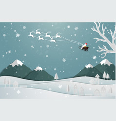 santa claus floating over the village in winter vector image