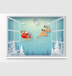 santa claus in christmas day outside window vector image
