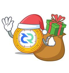 Santa with gift decred coin mascot cartoon vector