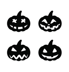 set black pumpkins for halloween isolated on white vector image