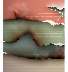 set burning templates torn paper with fire vector image