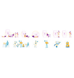 set characters charging gadgets artificial vector image