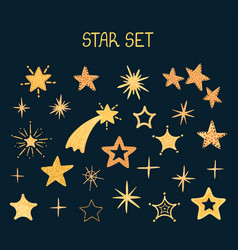 Set with night star shape vector