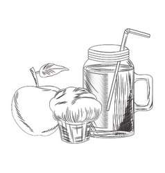 Smoothie jar with muffin and apple vector