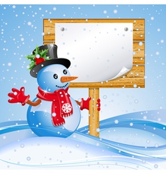 Snowman with sign vector