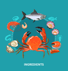 sushi ingredients composition vector image