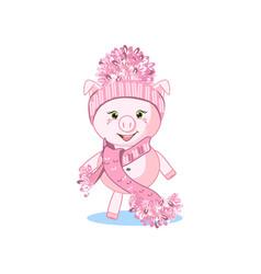 sweet pig in winter hat vector image