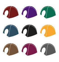 tent icon in black style isolated on white vector image