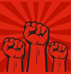 three clenched fists on red grunge background with vector image