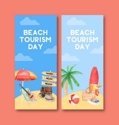 Tourism flyer design with umbrella chair guitar vector