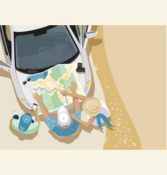 Trip people car map vector