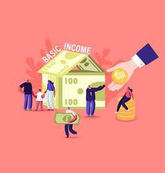 Ubi universal basic income concept tiny male vector