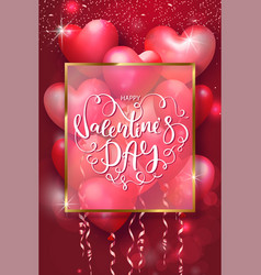valentines day cards with heart shaped air vector image