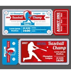 Vintage baseball sports tickets set vector