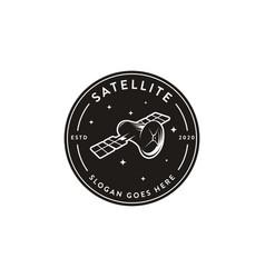 vintage emblem label space satellite logo icon vector image