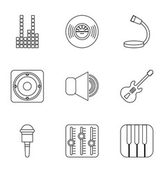 Voice recording icons set outline style vector