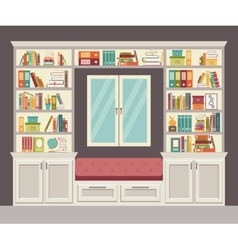 Window seat and wall of books for the home vector