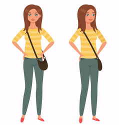 young pretty girl front 3 4 view cartoon style vector image