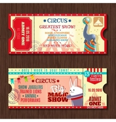 Circus show two vintage tickets set vector