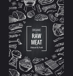 hand drawn monochrome meat elements vector image vector image