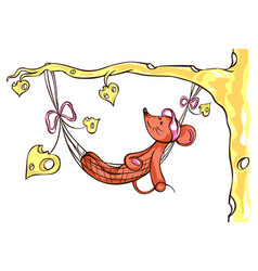 mouse girl lies in a hammock vector image vector image
