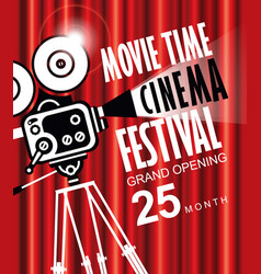 movie time background with old fashioned camera vector image