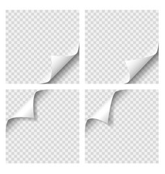 set of curly page corner blank sheet of paper vector image vector image