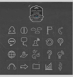 social media network doodle line icon set vector image vector image