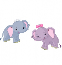 two babies elephants vector image vector image