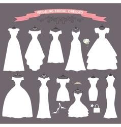 Wedding dress setFlat designBridal shower vector image