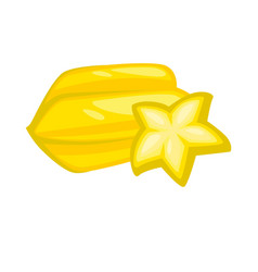 yellow sweet juicy carambole isolated on white vector image