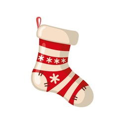 Christmas sock icon in flat style vector image