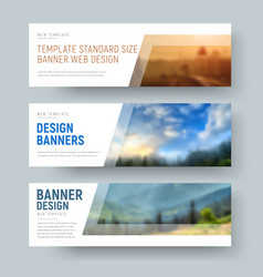 design of standard white horizontal web banners vector image vector image