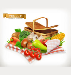 farm and harvest realistic vegetables tomato vector image vector image