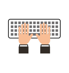 hands programmer typing work keyboard technology vector image