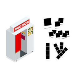 isometric compact photo booth and photo frames vector image