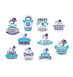 Summer holidays retro emblems and logo vector