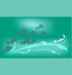underwater background with fish vector image vector image