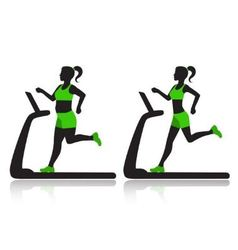 woman on a treadmill resets overweight vector image